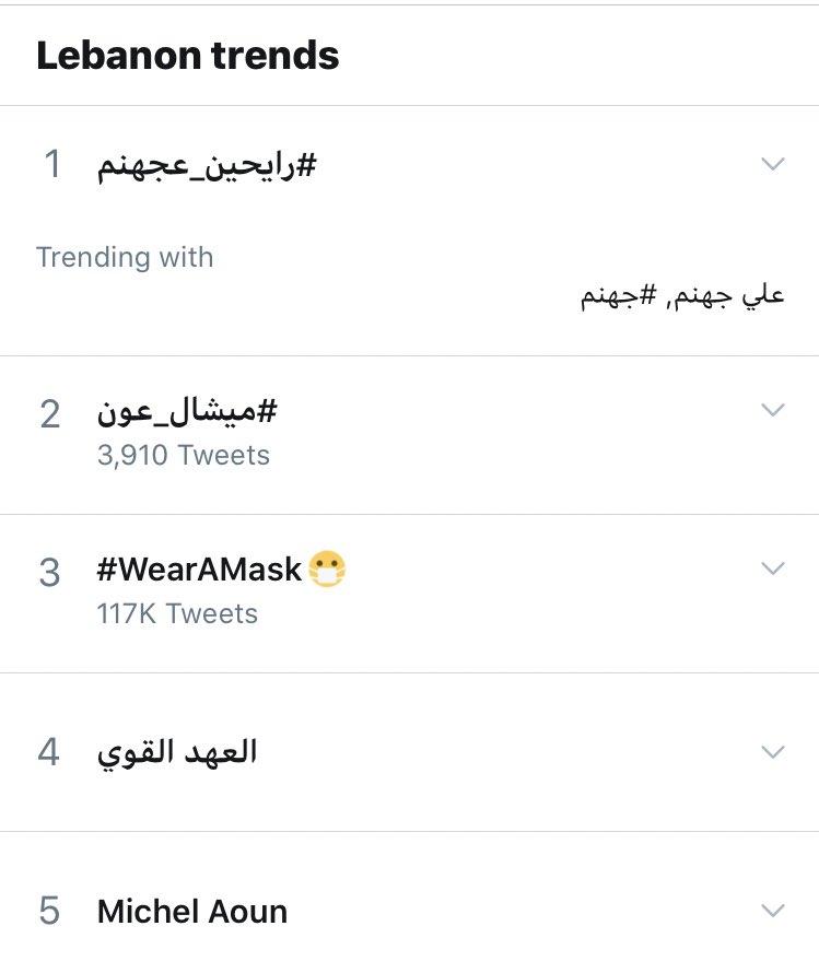 Trending now in #Lebanon  #رايحين_عجهنم https://t.co/F4jPPTBGGI