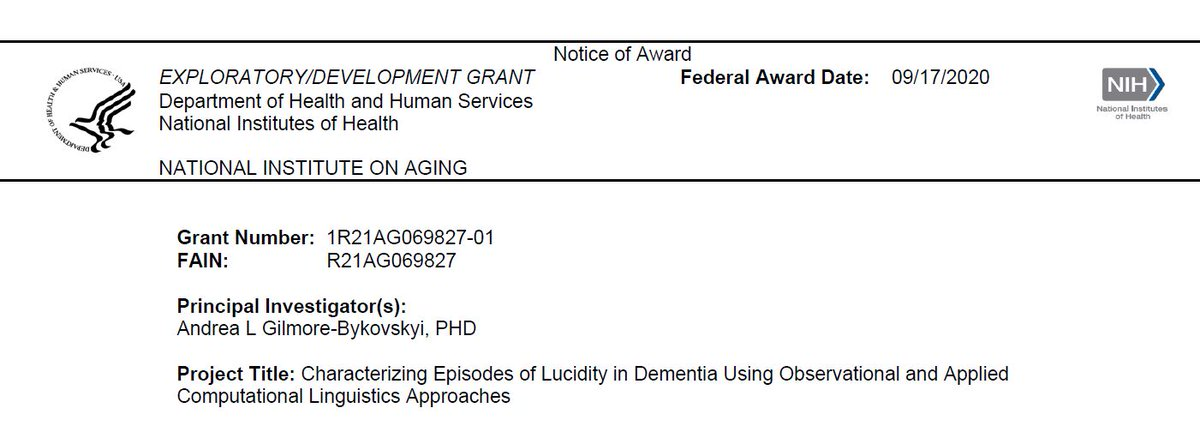 When #NIA released the Lucidity in Dementia RFA I carried it with me everywhere. Eventually I decided to go for it & wrote the grant of my dreams. I can't believe I have the opportunity to bring this science to life with this phased innovation award!! https://t.co/bQLtrbb0kR