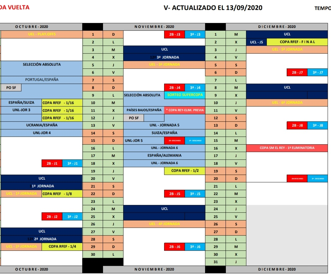 📅Planning-Calendario 20/21 de competiciones de la @rfef y @UEFA   📌#segundab #TerceraDivision #copadelrey #copaRFEF #UCL #UEL #selecciones #Eurocopa https://t.co/cO7e2rUvI7
