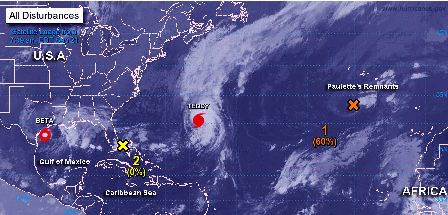 Atlantic Ocean - Teddy, Beta Threaten Land Areas, 2 Other Systems Linger  NOAA's GOES-East satellite found Tropical Storm Beta nearing Texas while Hurricane Teddy approaches Bermuda. Paulette's remnants spin in the Central Atlantic and a new low formed near southern Florida. https://t.co/J0JLlItSvj