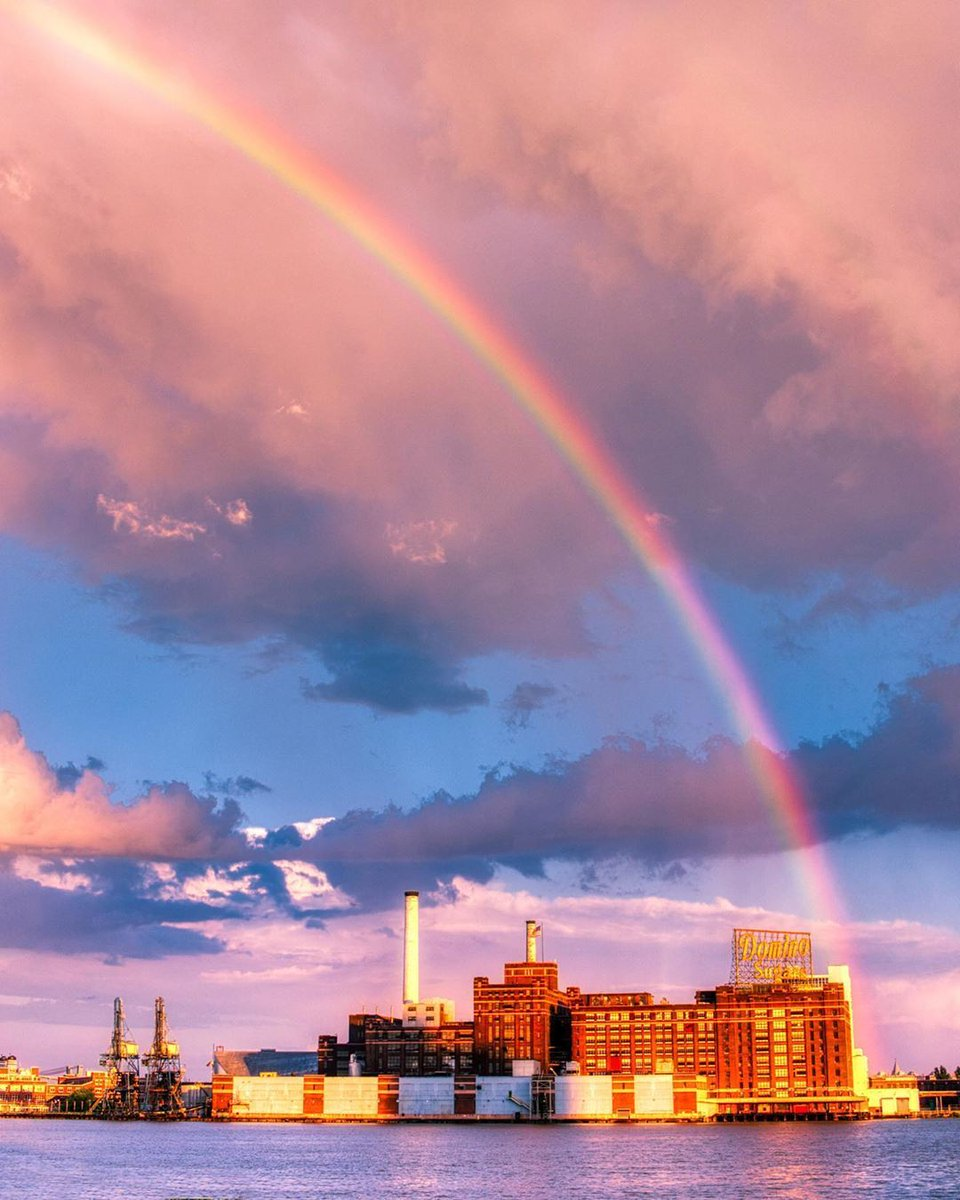 After the rain comes the rainbow … what an incredible shot over the iconic Dominos Sugar factory in Baltimore   Image credit: @jaredrussellstrouse https://t.co/DHrqvQ4BLA