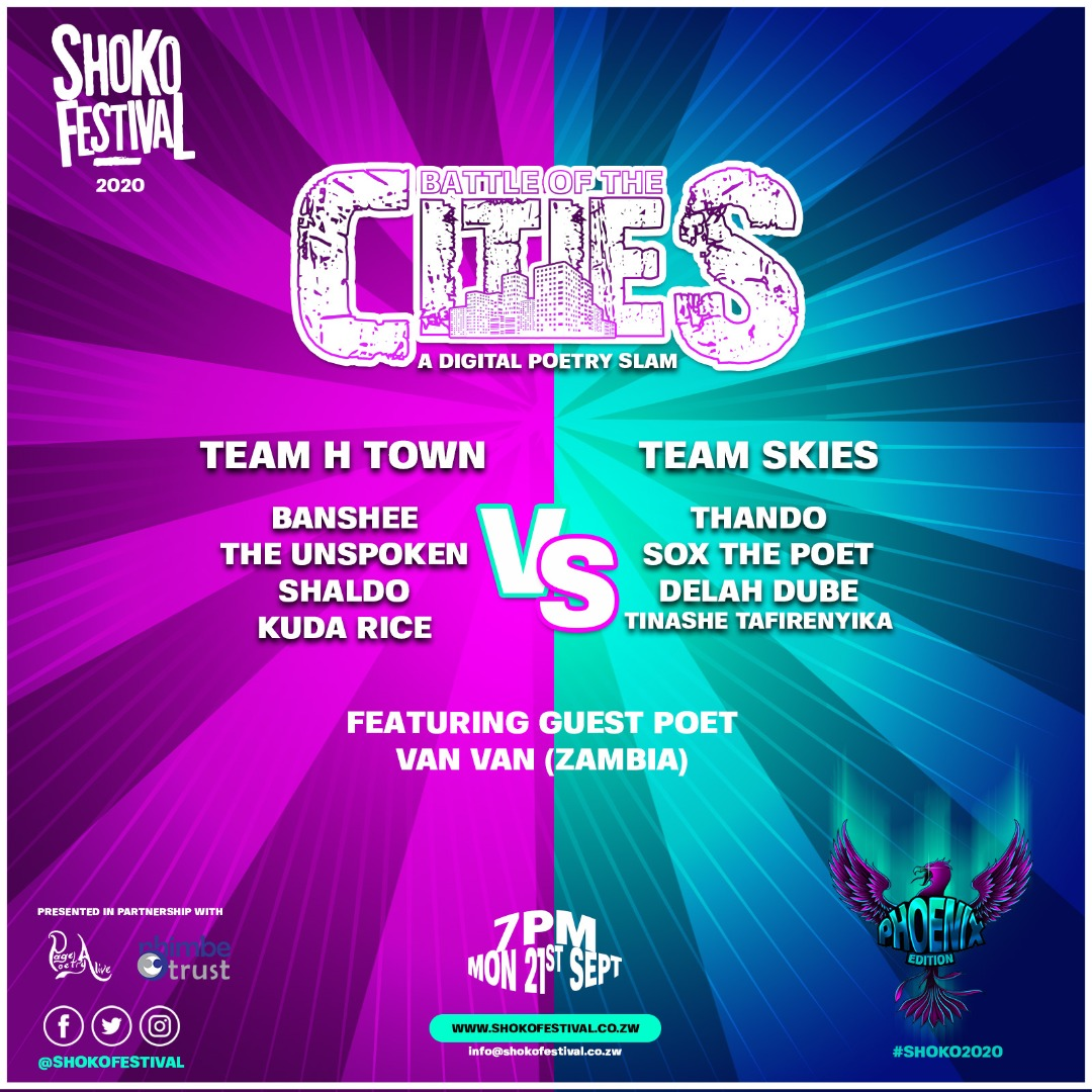 Team Harare or Team Bulawayo? Who will be crowned poetry champions?  Brace yourself for the Battle of the Cities at the Phoenix Edition of #Shoko2020. The showdown🎙 is on today at 7pm, LIVE on the Shoko Festival Facebook Page.   Get ready. There will be blood. https://t.co/KsweOMc4vX
