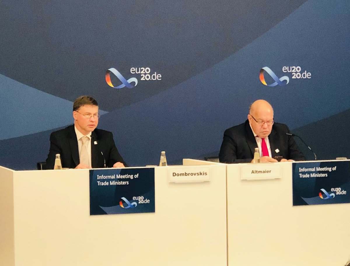 Vielen dank to @EU2020DE Presidency for organising today's Informal Meeting of #EU Trade Ministers. Excellent discussion on the role of trade in future recovery, and ongoing #EUTradeReview process. My statement 👉🏻 bit.ly/2RLb2un #EUTrade
