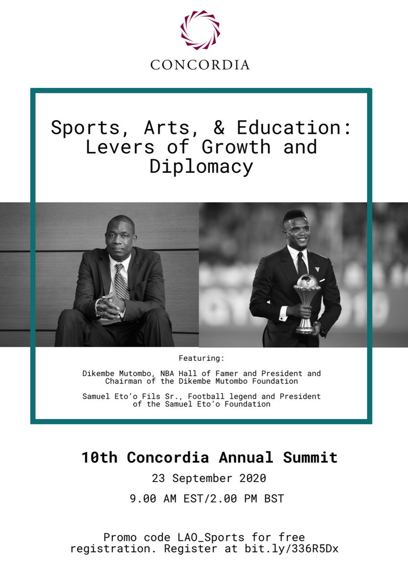 This Wednesday, September 23 @ 9am EST with @setoo9 & @officialmutombo! #Concordia20