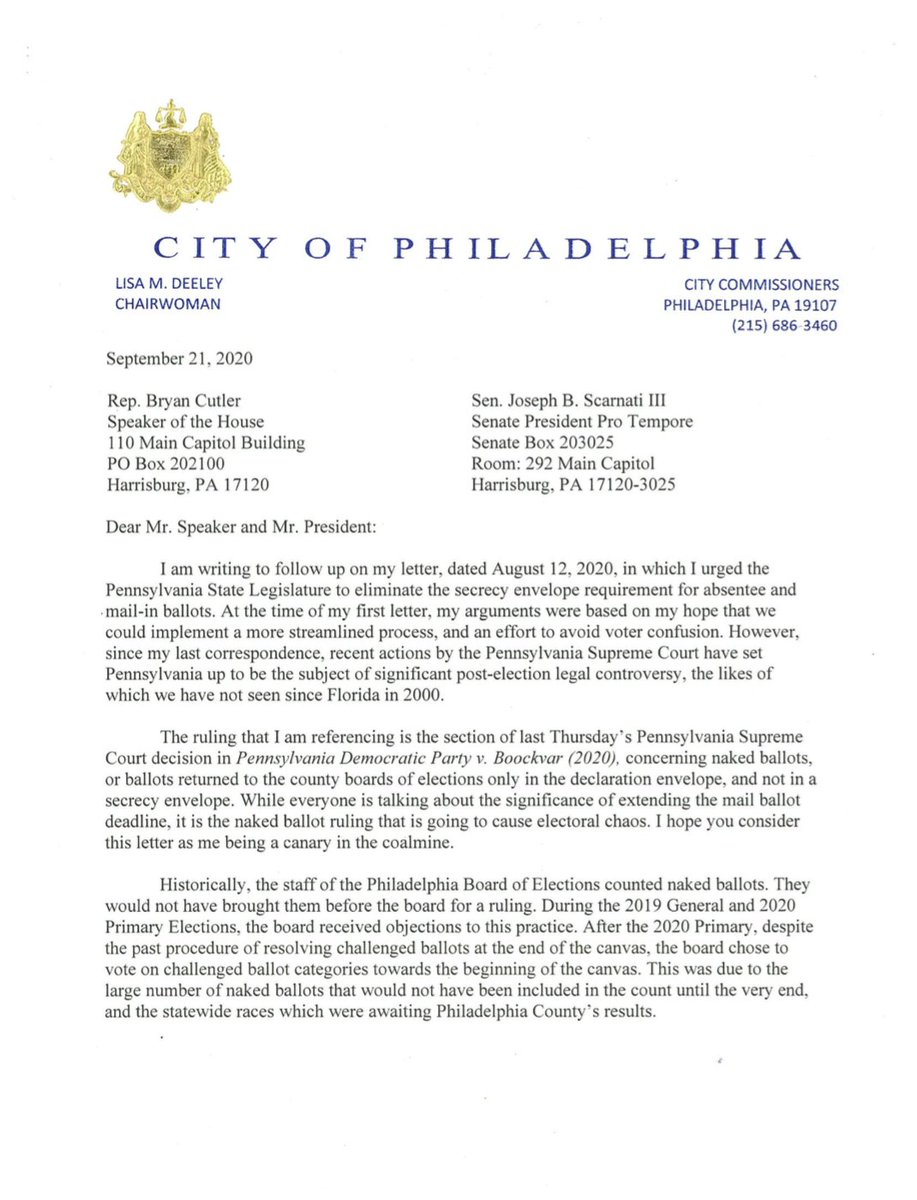 """In a letter to GOP state leg leaders, an election official warns 100K PA voters could be disenfranchised b/c of a ruling rejecting naked ballots. It """"set PA up to be the subject of significant post-election legal controversy, the likes of which we have not seen since FL in 2000."""" https://t.co/3ml96W00EX"""