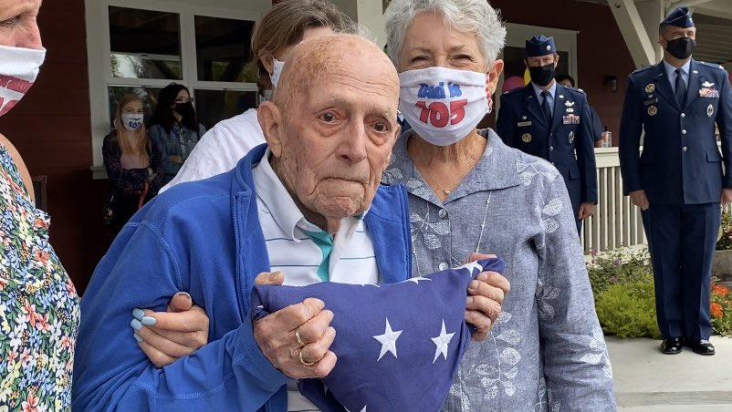 WWII Veteran, 1st Lt. Charles Dever  celebrated his 105th birthday in Goleta with the help of @30thSpaceWing. He was presented with a folded flag and made an honorary member of the United States Space Force! Thank you for your service 🇺🇸