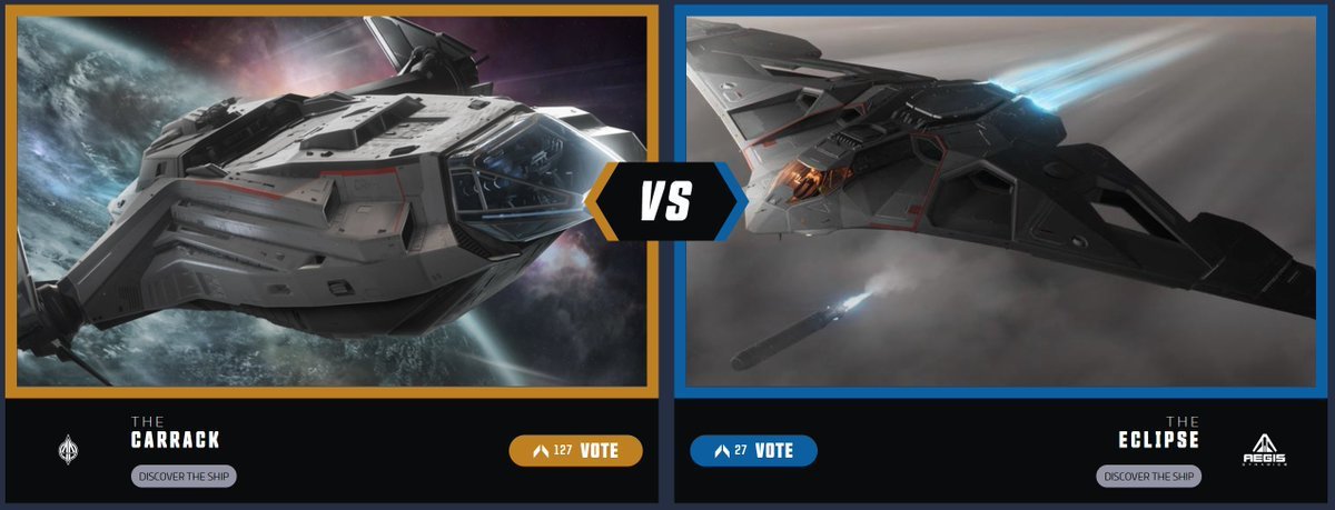 The Ship Showdown Semi-Finals are here! Two community favorites are pitted against each other as the Carrack goes up against the Eclipse. Can the Anvil's star make it all the way or will the military ship from Aegis turn the tides of battle again?   Vote: https://t.co/PhMNSrGpKp https://t.co/OYajv6E2TB
