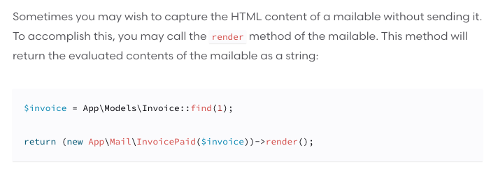 You can return Mailables as responses from controllers. It will show the rendered version in the browser