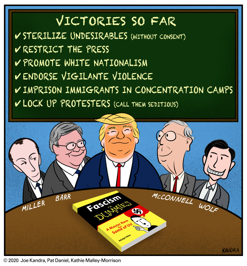 cartoon I did last Friday (9/18/2020) #FascismForDummies, #Trump, #McConnell, #AGBarr, #StephenMiller, #ChadWolf