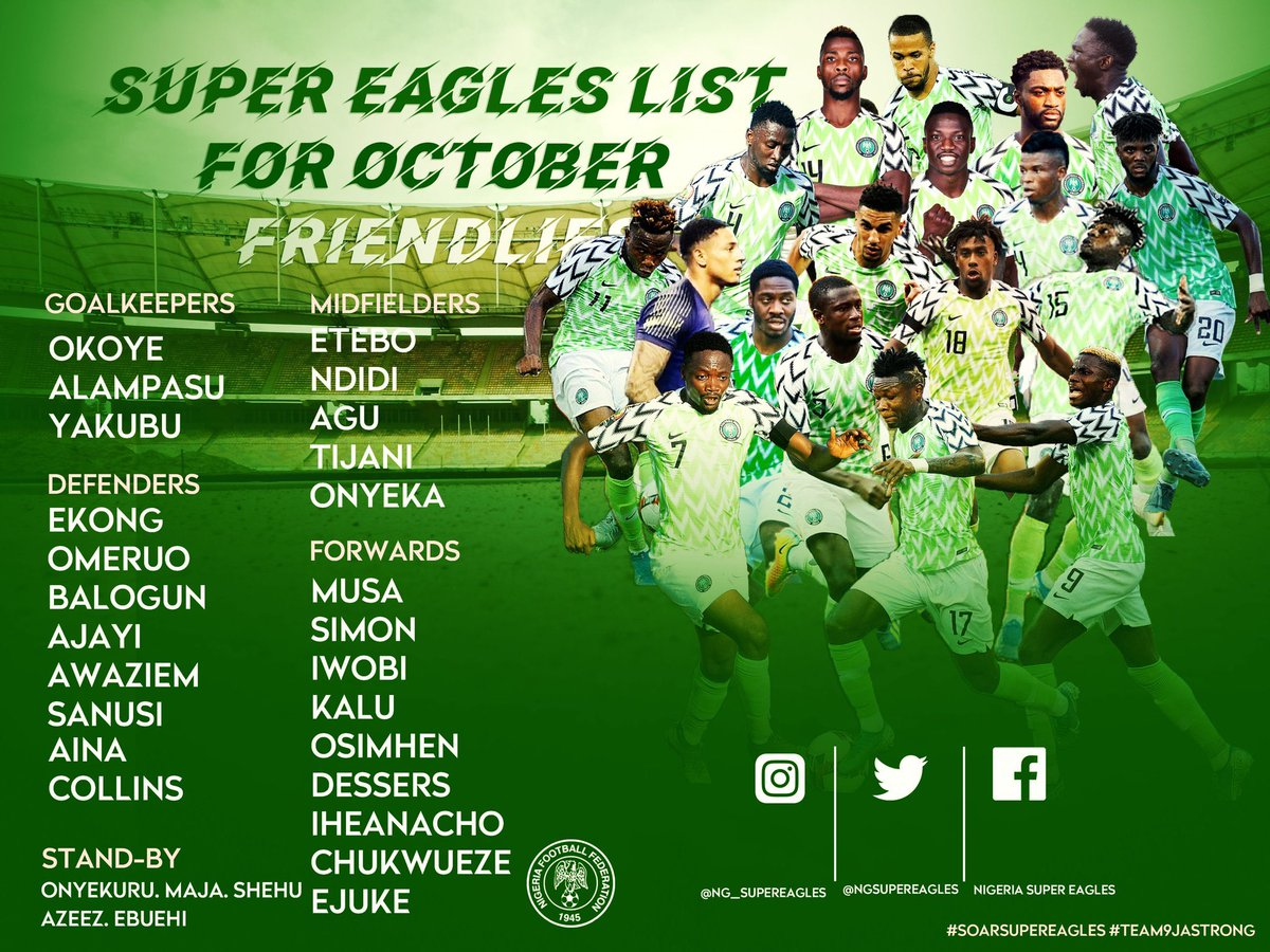 @NGSuperEagles squad for international friendly games against Cote d'Ivoire, Tunisia  on October 9 and 13 in Austria  #SoarSuperEagles 💪#internationalfriendly https://t.co/prdXLEf3Hg