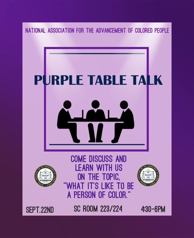 "Don't forget to join us for our first event, ""Purple Table Talk."" You don't wanna miss it! https://t.co/CI80Z7JuR5"