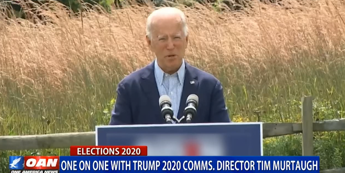 this is amazing. on oan they *blur out* the signage on joe biden's podium. not even fox pulls that kind of thing. amazing! https://t.co/o2zzwNKMnx