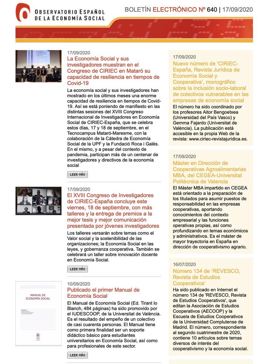 Nuevo núm. 640 del Boletín de Actualidad del Observatorio de #EconomíaSocial de @CIRIEC_Esp con una primera crónica del Congreso #CIRIEC_Mataro2020 y más novedades formativas, editoriales y noticias del sector. Núm. completo ⏩ https://t.co/KyatR1DLHF #Coops #SocEnt #TercerSector https://t.co/TlC2x5Ev9U