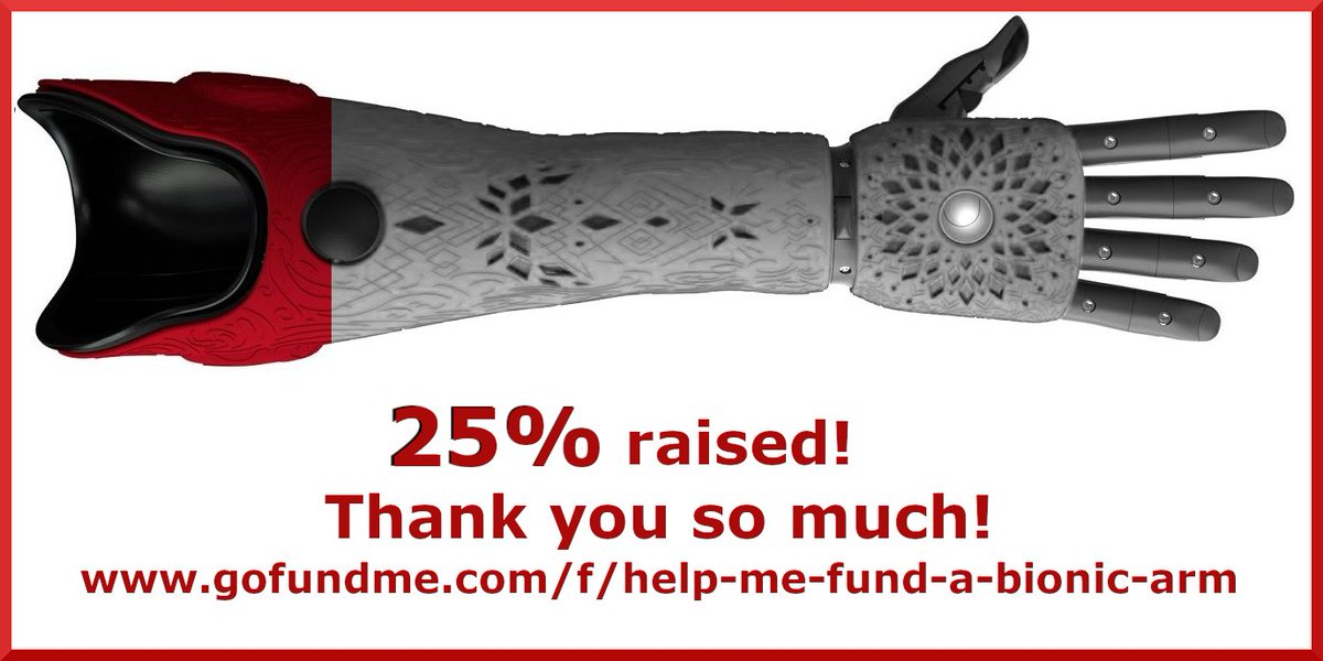 25 % FUNDED! I can now afford the socket & electrodes but still need to raise more for the arm, battery, covers & hand!  Thank you from the bottom of my heart to everyone who's donated or shared my story in such uncertain times ♥️🦾 #disability #Alita #lincolnshire #crowdfunding https://t.co/bu9tIx76Xo https://t.co/ESTSu6ozVY