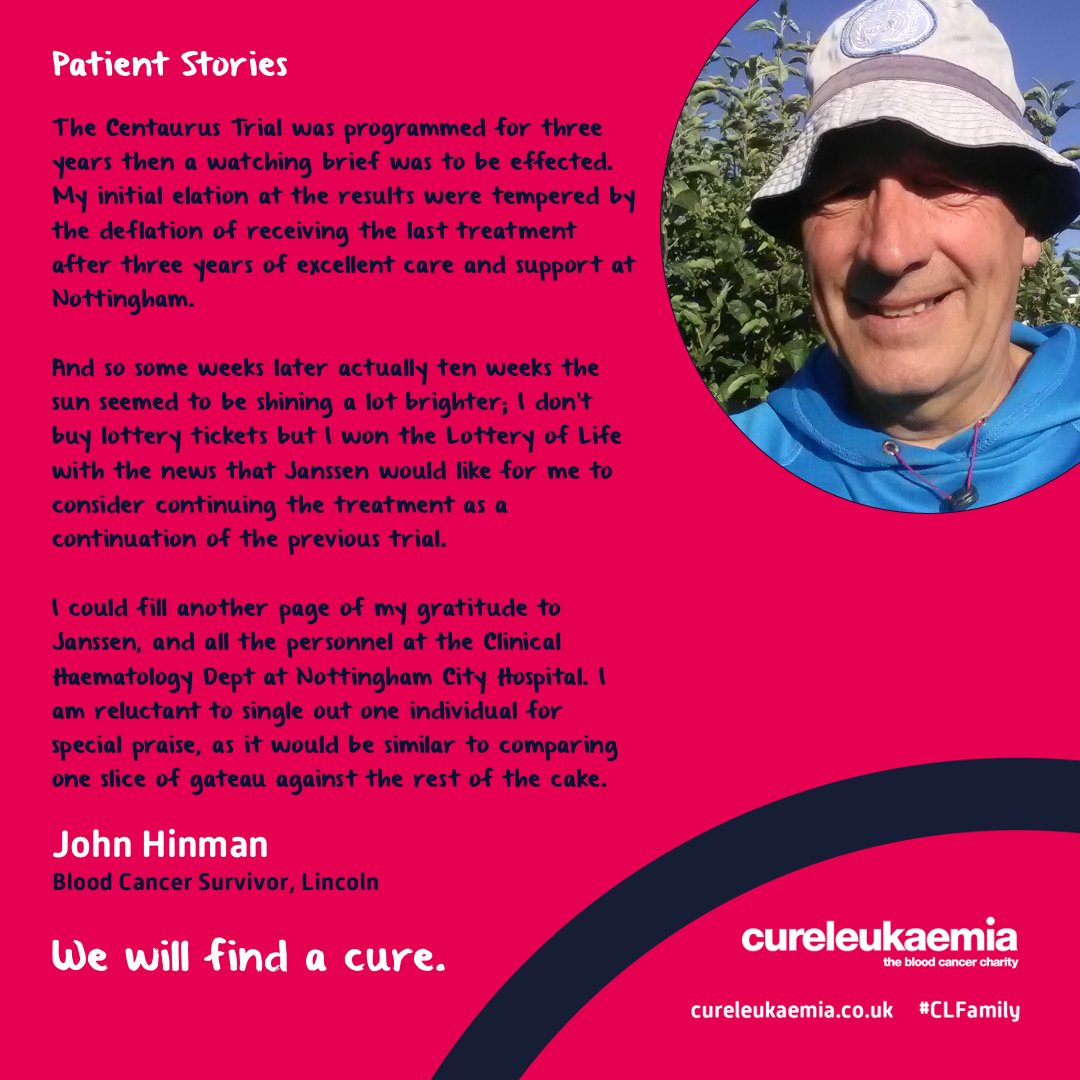 """💬 """"I won the Lottery of Life""""  #BloodCancer survivor John Hinman is still here today thanks to a #ClinicalTrial delivered by @NottmHospitals, which now receives funding from @CureLeukaemia as part of @Tap_Clin_Trials 👉 https://t.co/8p58GelOTC   #CLFamily #CLTap #BCAM https://t.co/vdSuqUIrNQ"""