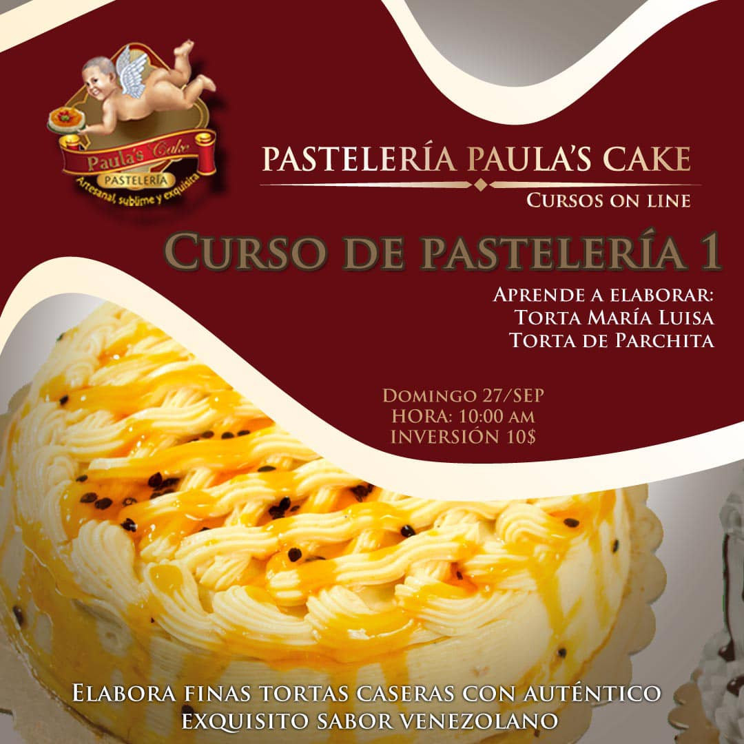 Aprende a elaborar dos deliciosas tortas en el nivel 1 de nuestro #curso online: la #torta Maria Luisa y la muy solicitada torta de #parchita. La fecha es el domingo 27, siendo la inversión $10.  Mándame un DM si deseas más información https://t.co/Nc9FSMLr23