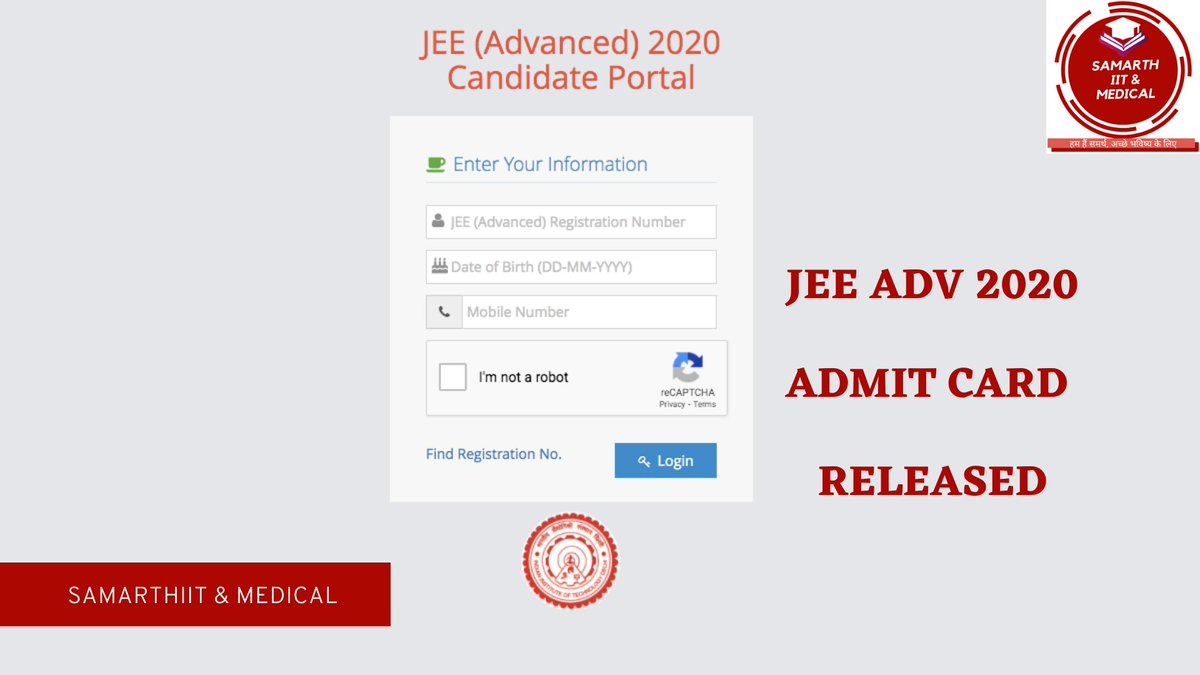 #Important #JEEAdv2020 JEE (Advanced) 2020 : Admit card released on official website. Download JEE Adv 2020 Admit card here:  https://t.co/x5Y4bb2iUL  #IITJEE #AdmitCards #ADV #Important #samarthiitmedical https://t.co/MnggH55yCM