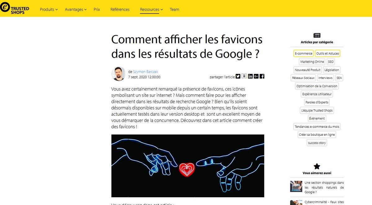 Comment afficher les favicons dans les résultats de Google ? https://t.co/0rNGAbVYD6 @TrustedShops_fr https://t.co/3KMdgWxXlG