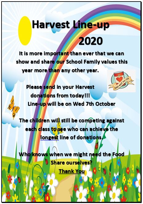 It is time for Harvest! We can't have our usual Harvest sharing but we can still have our Harvest Line up. Please send your much needed donations in with your children from tomorrow. Thank you 😀👍#schoolfamily #foodshare https://t.co/d8VhEIkaa0