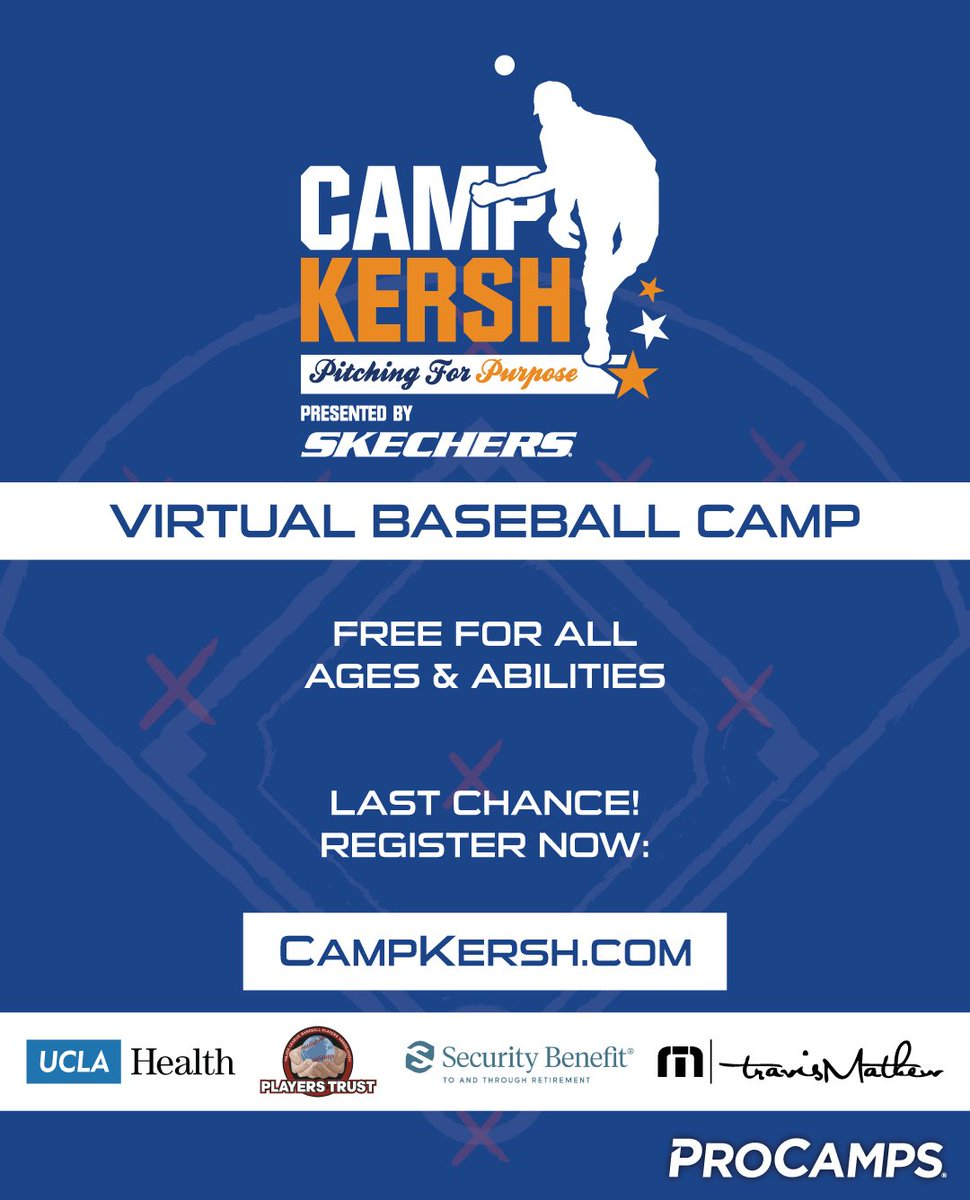 Last chance to sign up for today's virtual pitching camp! Camp Kersh: Pitching for Purpose is free to all ages and abilities. Register: https://t.co/loNkcDU0fW! Special thanks to our sponsors: @SKECHERSUSA, @UCLAHealth, @securitybenefit, @TRAVISMATHEW @MLBPlayersTrust https://t.co/LEi8WWcsZp