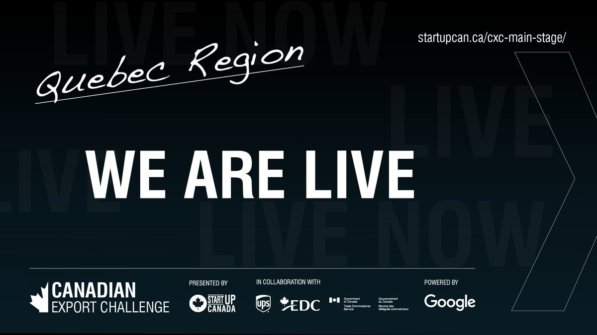 WE ARE LIVE! 🇨🇦  Watch the 2020 Canadian Export Challenge #Quebec Region here: https://t.co/wOQGLqZmLi  Co-presented by @UPS @ExportDevCanada & @TCS_SDC. Powered by @googlecanada.  #CXC2020 #GlobalEntrepreneur https://t.co/kHFv26Ubcg