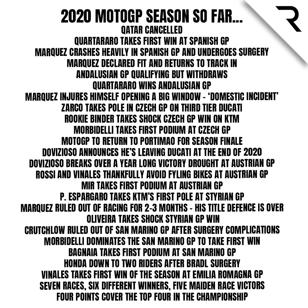 🏎 F1: We've had quite the season so far   🏍 MotoGP: Hold our heavily-branded energy drinks   We're only halfway through the season 🤯🤯  Post inspired by @wtf1official 🤝 https://t.co/b9NSpyD7WR