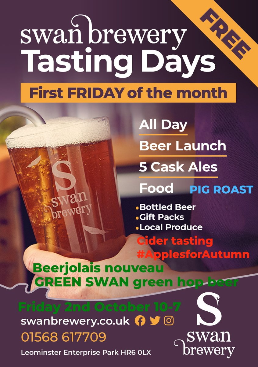 Our next #TastingDay has a #harvest and #ApplesForAutumn theme #HerefordHour 5 #caskales including 2 #GreenSwan #greenhopbeers #cidertasting #apples #applejuice #hogroast #applesauce 10-7 2nd October https://t.co/nGnAfrd7Cu