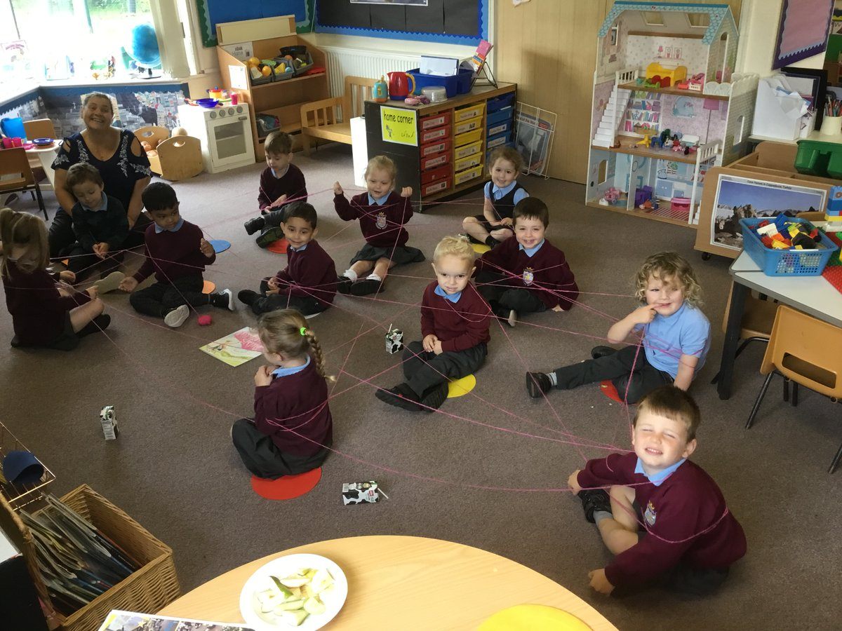 This week Pre-school are reading 'The Invisible String'. The children talked about who they are connected to at home and then Mrs Smith wrapped everyone up in 'string' to show how they are all connected to each other! 💕#schoolfamily #invisiblestring 💕 https://t.co/I32bQbIams