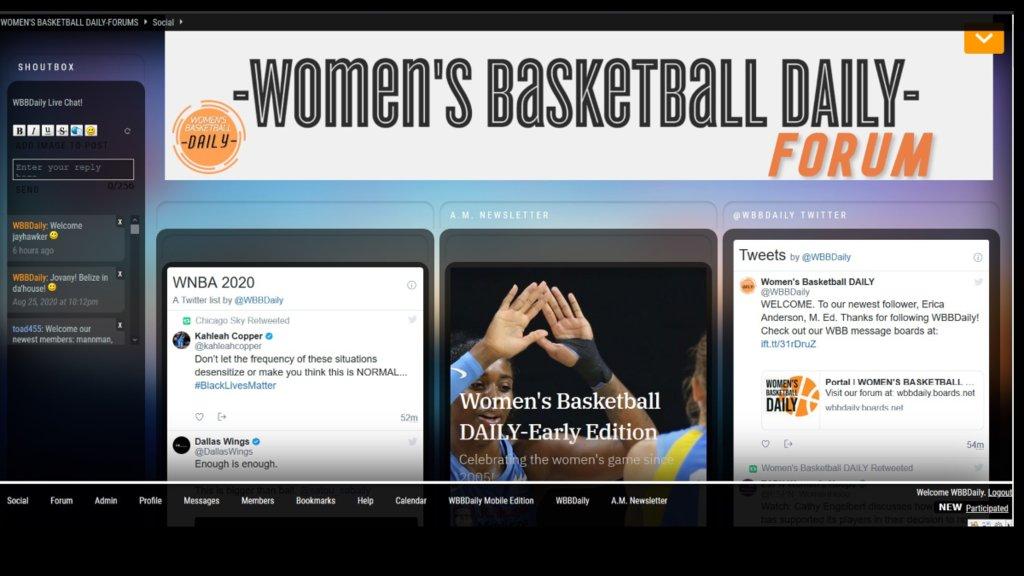 Message board-Live chat, a great place to talk women's hoops! Troll free! https://t.co/Y9Lslx93KK #WNBA https://t.co/fz99gPSxDj