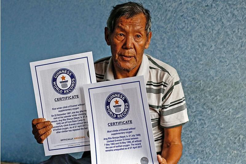 Ang Rita Sherpa (72), known as the 'snow leopard' in the mountaineering community, has passed away this morning. He climbed Mt Everest 10th time in 1996 without using bottled oxygen and first winter climb in 1987 without bottled oxygen. (source: MountEverest8848m) @NKBV