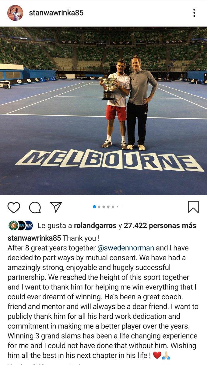 Stan Wawrinka 🇨🇭 deja de trabajar junto a Magnus Norman 🇸🇪 tras 8 años exitosos. El suizo dejó de ser peligroso para ser candidato en cada torneo al que asistía gracias al cambio de actitud y mentalidad desde su unión. 1 final de Grand Slam por año (2014-2017) ganando 3 de 4 🙌🏻 https://t.co/6eICcRQWR1