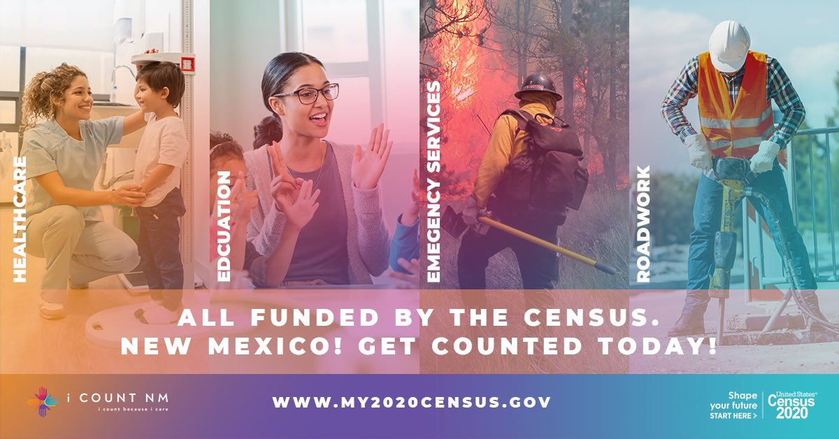 📆 Only 10 days left to fill out the 2020 Census!  It just takes a few minutes to be counted and help ensure New Mexico gets the funding it needs for our community! ⬇️⬇️ https://t.co/J7Hai6ll5q #anewday4NM #2020census #IcountNM https://t.co/p1OH3OECwx