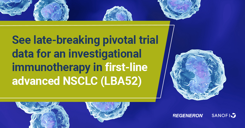 #Immunotherapy news from #ESMO20: with @Regeneron, we presented pivotal trial data in first-line advanced Non-Small Cell Lung Cancer (NSCLC). Read more: https://t.co/S8xY2oOQ05 https://t.co/JHnY6HkRD2