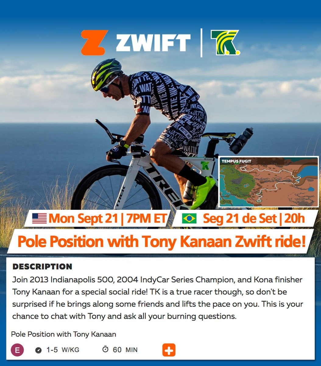 🇺🇸 🗓 ⏰ ➡️ Join us tonight, Monday Sept 21st at 7p ET for our weekly @GoZwift @GoZwiftTri bike 🚲 ride. Find the ride on the Companion app or 👉🏻 https://t.co/BuPonkFCui. #GoZwift https://t.co/EaTtpwDOEA