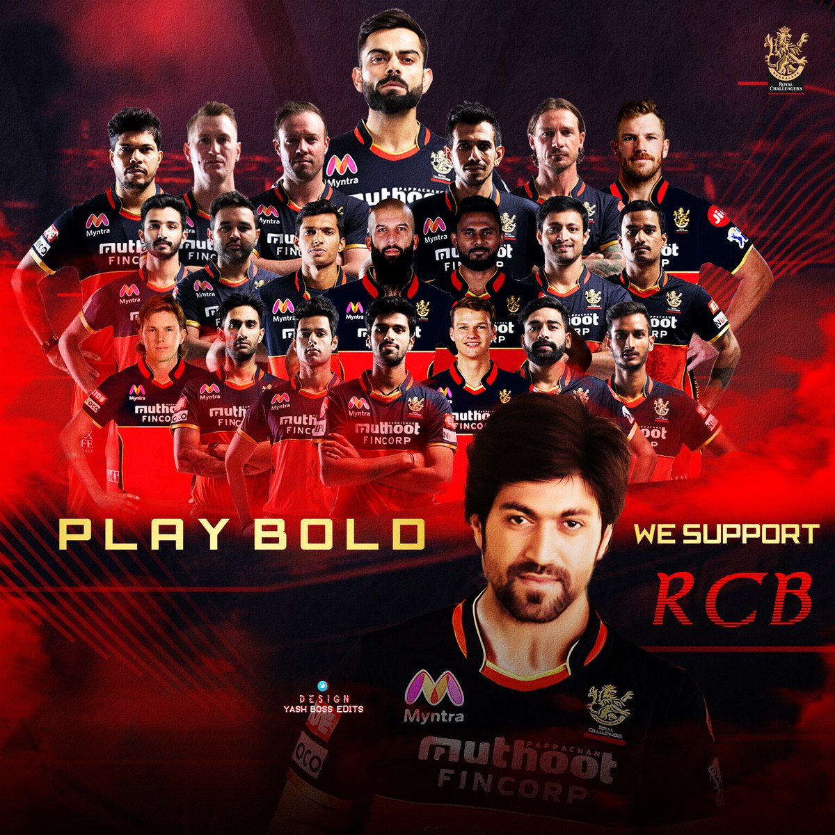 All the best @RCBTweets @imVkohli 💪  Best wishes from @TheNameIsYash BOSS FANS ❤  #PlayBold #WeAreChallengers #IPL2020  #KGFChapter2 https://t.co/bjETzwGZxs