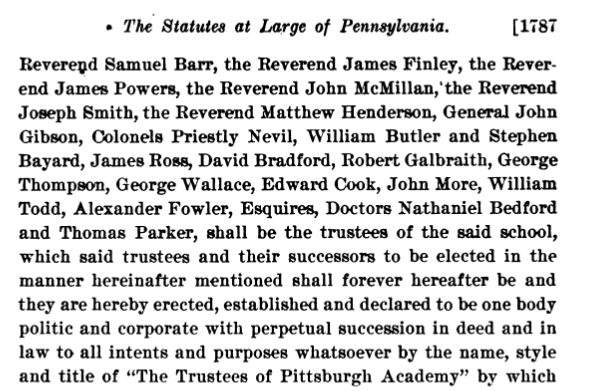 Enslavers comprised at least 7 of the original 21 trustees of the Pittsburgh Academy, which became the Western University of PA in the 19th century and the University of Pittsburgh in the 20th. Finley, Gibson, Neville, Bradford, Galbraith, Wallace, Cook. https://t.co/yDVPhkEkbu https://t.co/BQpQUhosiG