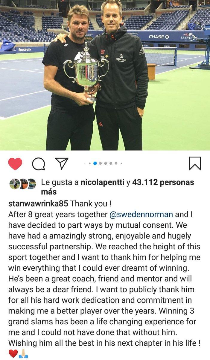 Stan #Wawrinka anuncia su desvinculación con su coach Magnus Norman, trabajaron juntos 8 años https://t.co/b9tRY8J8Sr https://t.co/CXjEotFyV3