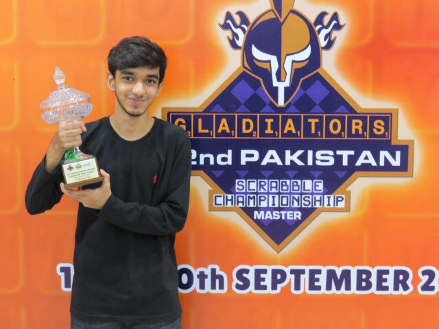 🏆 Gladiator Syed Imaad Ali clinched the Gladiators 32nd Pakistan Scrabble Championship!!  The 14-year-old jnr champion, Imaad defeated Waseem Khatri in the final run claiming four straight wins!! 🙌  #PurpleForce #WeTheGladiators #ShaanePakistan https://t.co/jVsYSsAOr1 https://t.co/Lsfv5gjTtw