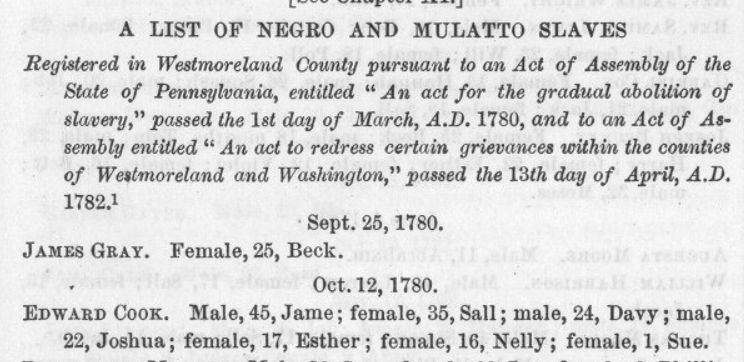 Trustee Edward Cook registered 7 people as slaves for life in 1780.   Trustee Priestly Neville (Morgan Neville's father) registered 4 children as term slaves in 1789. Term slaves owed 28 years of labor to the person who enslaved their mother. https://t.co/Aa7jwTMs8h
