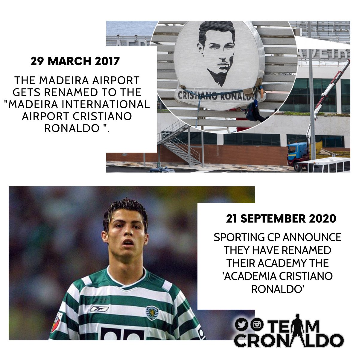 - Madeira Airport ☑ - Sporting CP academy ☑  Cristiano Ronaldo is much more than a football player. Living legend. https://t.co/offtuHiNOq