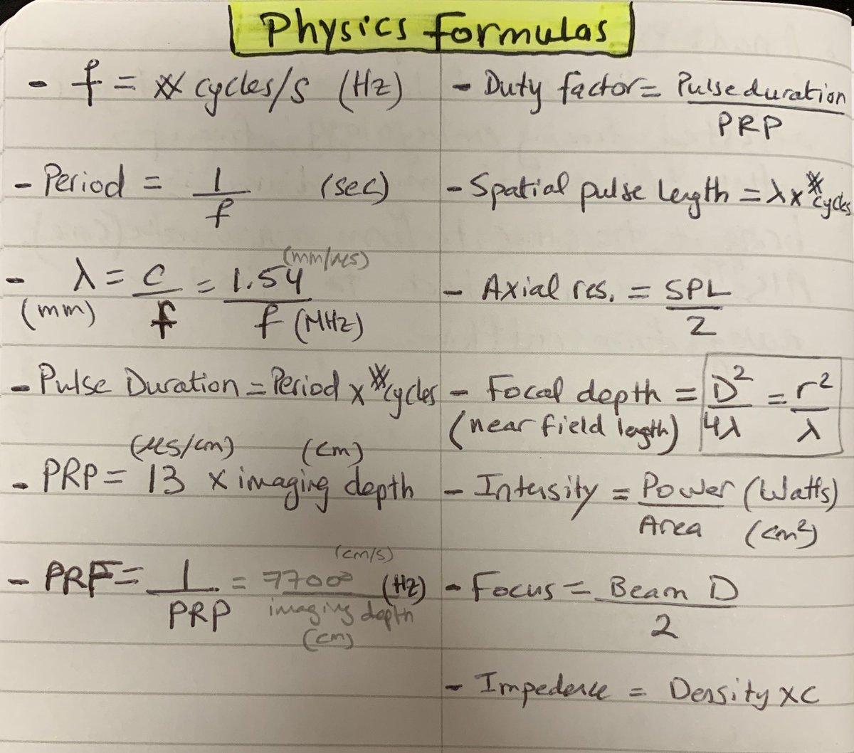 #echofirst @ASE360 summary of physics formulas
