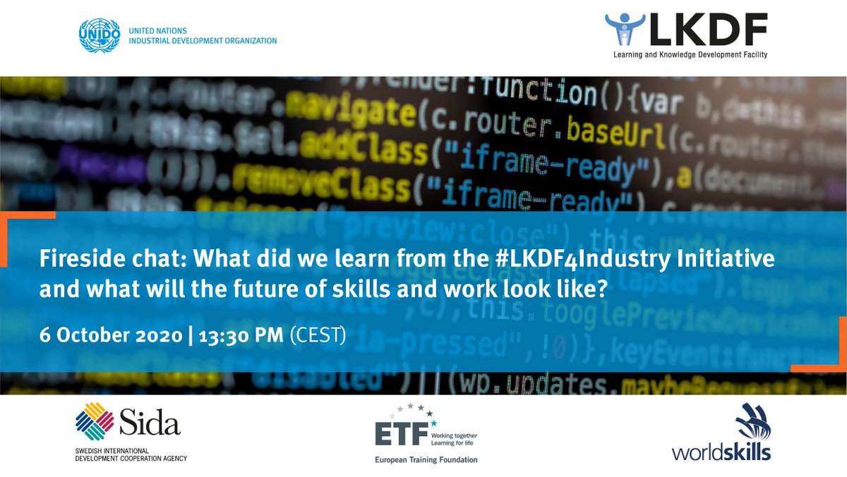 """💬 The #LKDForum's """"Fireside Chat"""" will address the many concerns that the industrial sector faces following #COVID19.  #UNIDO, @etfeuropa & @BellLabs will discuss the key findings of our #LKDF4Industry initiative & the #futureofwork.  Register ▶️ https://t.co/rs06Ky243p https://t.co/BNnNjZgAVK"""