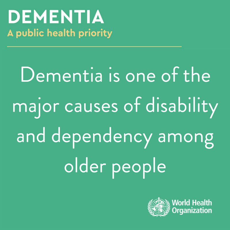 #Dementia is an illness characterized by a deterioration in cognitive function beyond what might be expected from normal ageing. It is a major cause of disability and dependency among older people 👵👴 👉 bit.ly/2vVsIse #WorldAlzheimersDay