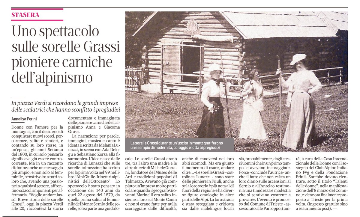 Articolo sul mio #spettacolo #sorellegrassi #voglioandarelassù #Trieste @il_piccolo https://t.co/Ni3vXQpgOA