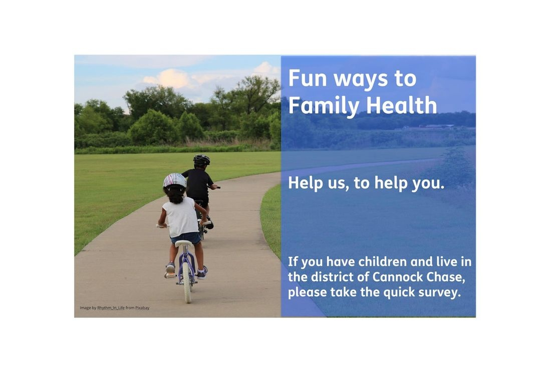 If you have children aged 0-18yrs and live in Cannock Chase District, please complete this short survey. This will help many local organisations shape their support for families to live healthier lifestyles.   https://t.co/J8Q90uSNsN https://t.co/qK94ljxztR
