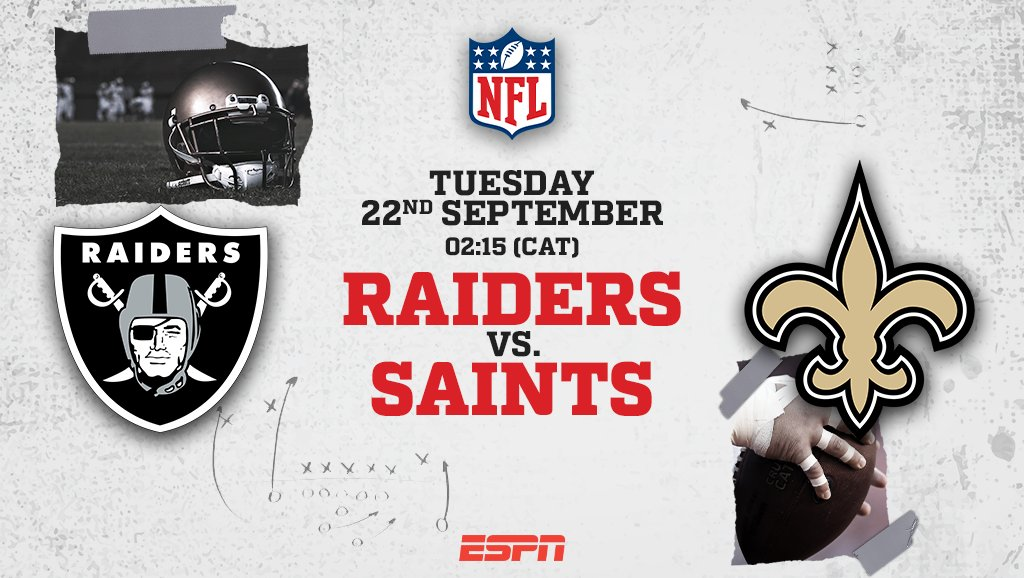 Live @NFL football comes to you in the early hours of Tuesday morning! 🏈  Tune-in to ESPN Africa at 02:15 (CAT) as the @Raiders and the @Saints lock horns to round up Week 2.   #ESPN | #NFL | #ESPNAfrica | #MondayNightFootball https://t.co/36SwJ9teiB