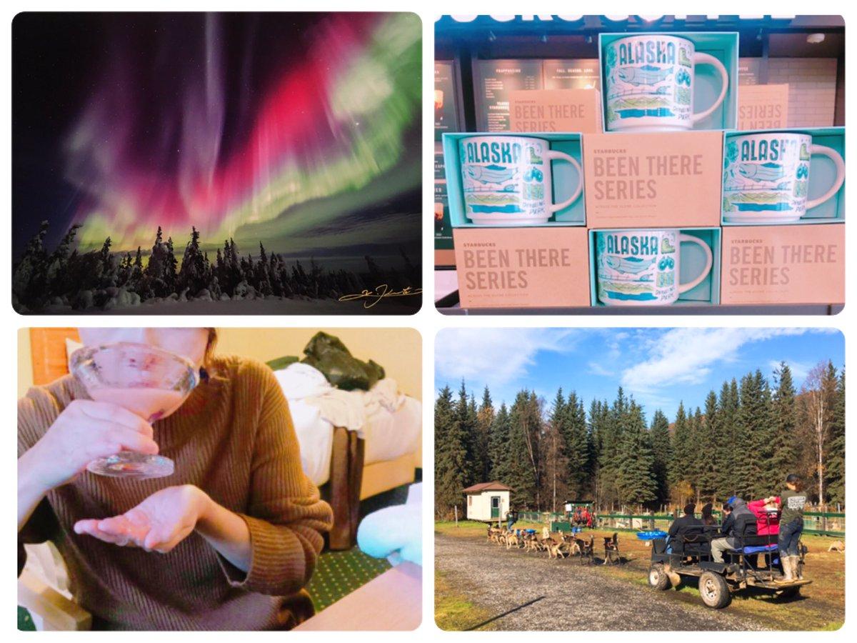 1年前 私は #アラスカ にいました✈️  写真左上→アラスカで出会った #オーロラ写真家 金本さんの写真📸(掲載許可済み🙏)  写真左下→ #アイスミュージアム で購入した、氷のグラス🧊  写真右上→アラスカのスタバ☕️  写真右下→犬ぞり🐶  アラスカでの出会いと感じたこと↓ https://t.co/N4Q1cpRIpn https://t.co/u7CyqiZVt6