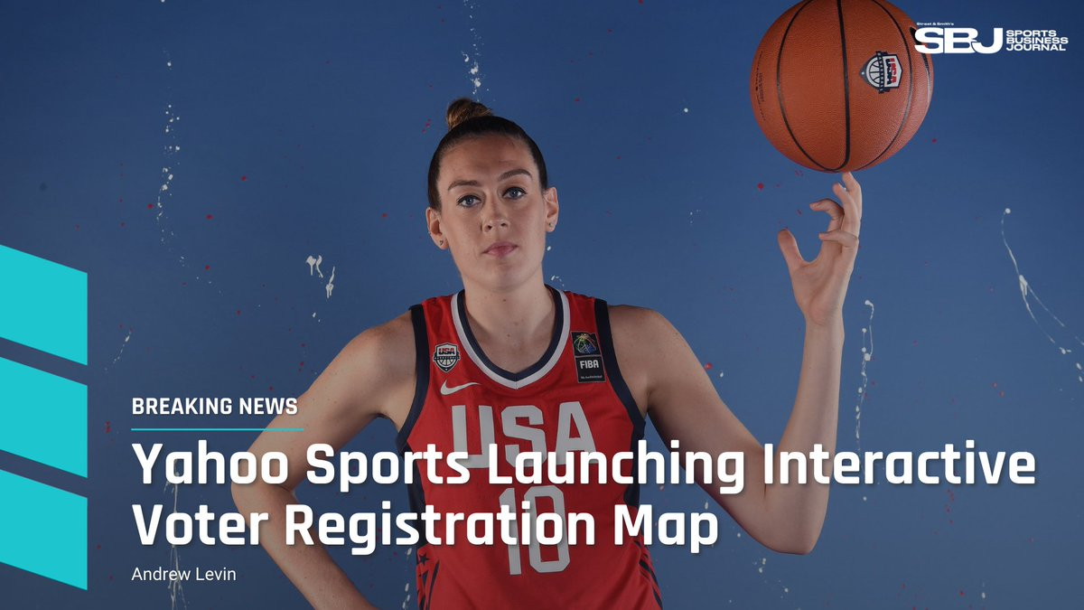 """#BREAKING: @YahooSports today is launching the """"Voting Playbook,"""" a voter-registration initiative with an interactive map of the U.S. featuring instructional videos hosted by Breanna Stewart, Calais Campbell and other sports stars (@McLevinSBJ).  https://t.co/8TdiirOA9S https://t.co/OR6XQatbcW"""