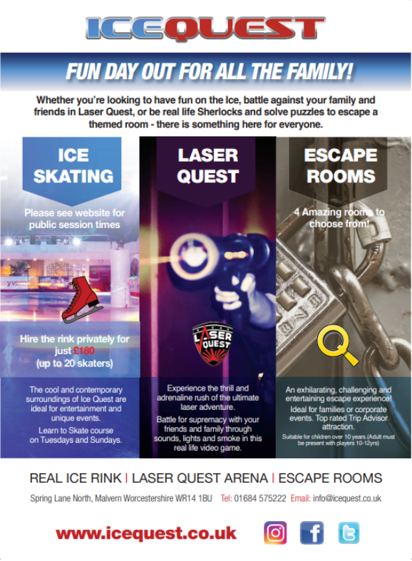 Fancy Ice Skating, Laser Quest, or trying out our Escape rooms? To celebrate our reopening, Ice Quest in #Malvern are offering a free #family pass for an activity of your choice: https://t.co/sTDJrrNvpv #competition #win https://t.co/g4IGOk5yc3