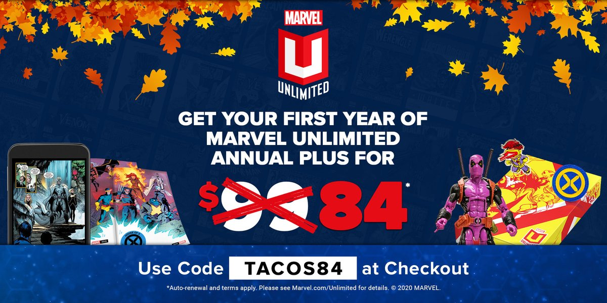 TODAY ONLY! Get $15 off your first year of #MarvelUnlimited Annual Plus for:  📚 Access to over 27,000 Marvel digital comics 🎁 Exclusive merch 💥 AND MORE   Terms apply. Redeem now with code TACOS84: https://t.co/Wjnq2WDVSj https://t.co/BA2xG0Y7yz